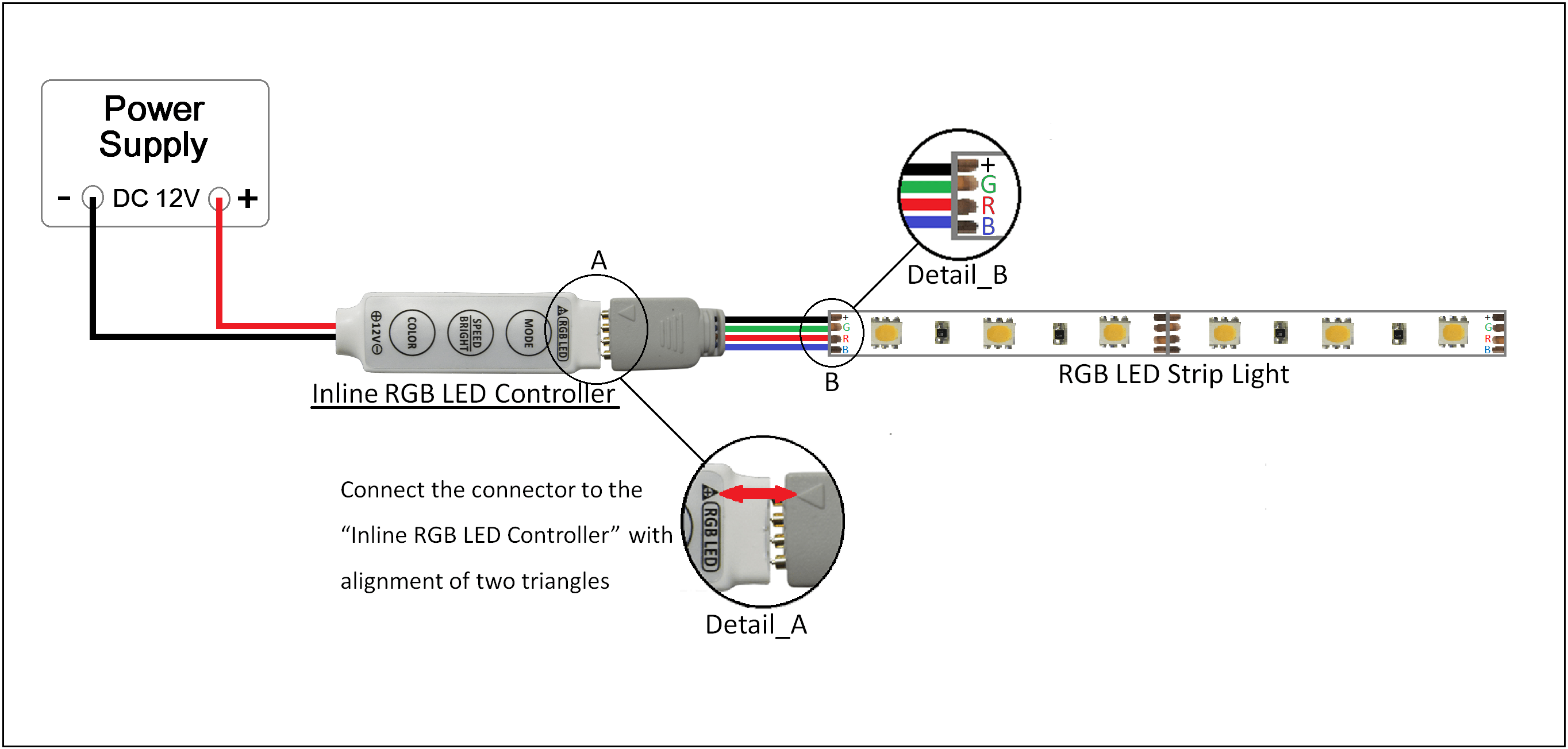 mini inline led controller for rgb million color leds & strip, Wiring diagram