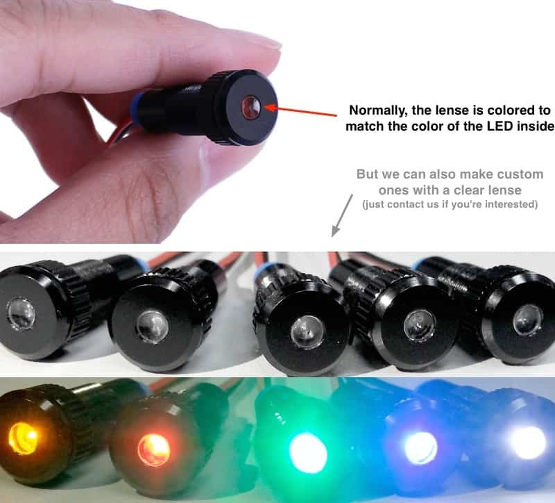 LED Aluminum Pilot Lights with colored or clear lens