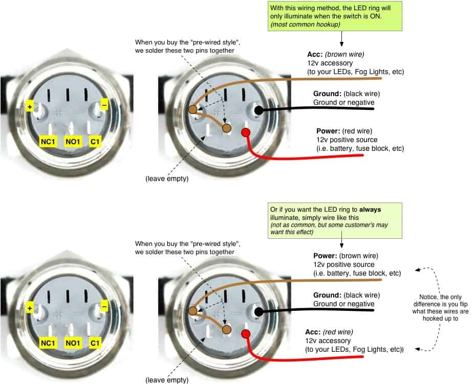 anti vandal led switch ring style push button on off switch if you want to add your own wire or use a different configuration here s the pin out diagram