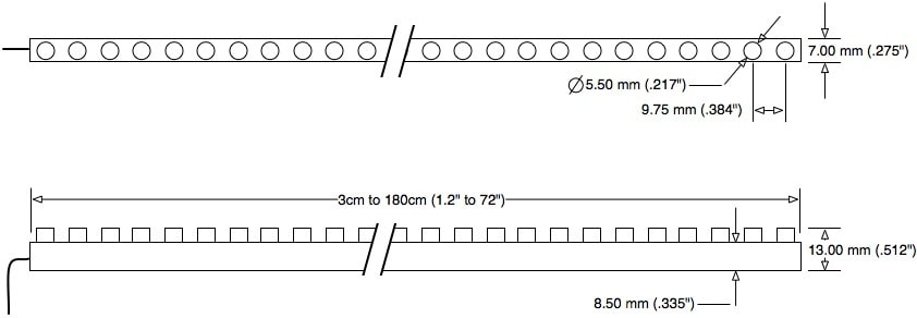 LED Motorcycle LEDs Motorcycle Strip Size Diagram Dimensions