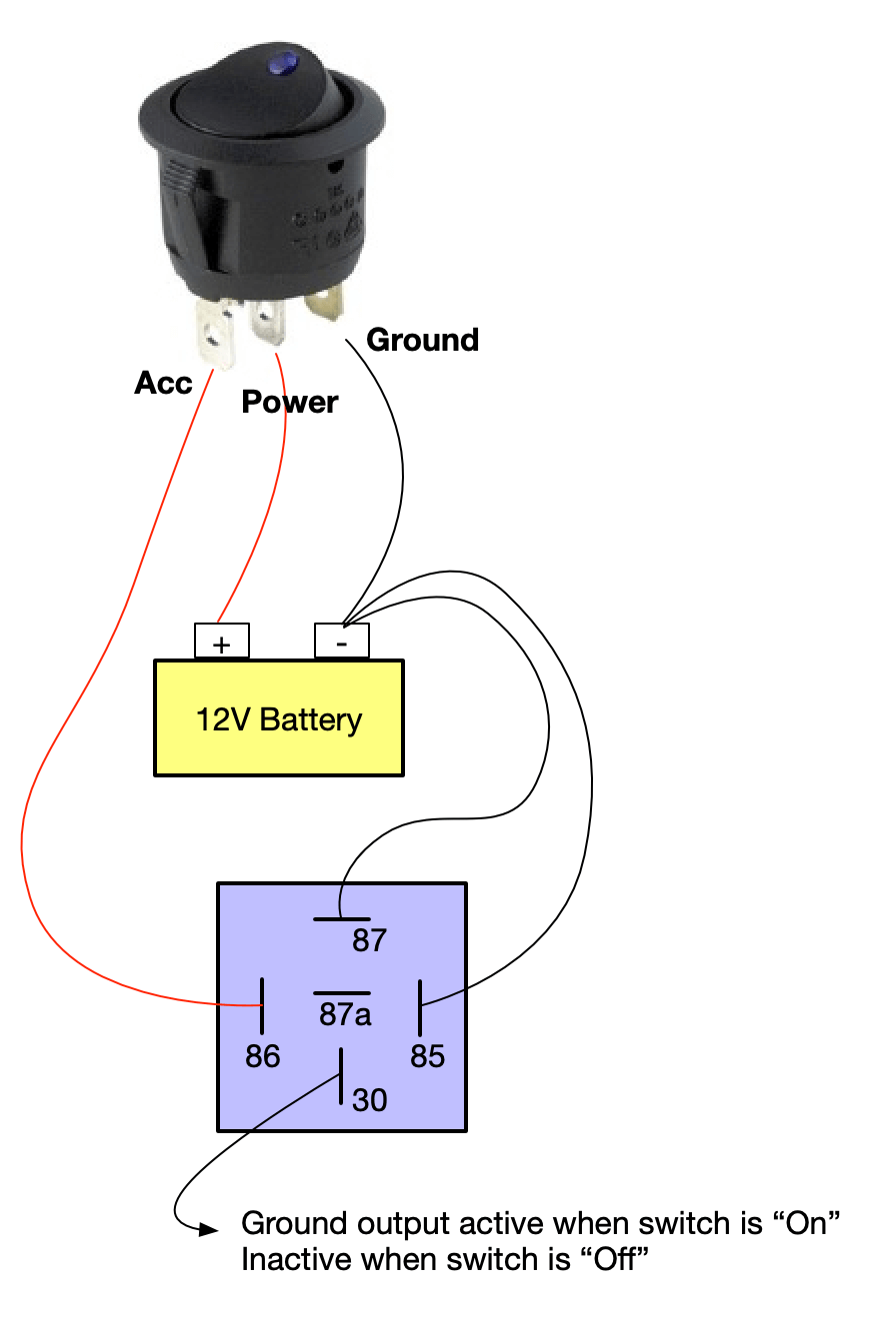 LED Switch ground output using relay