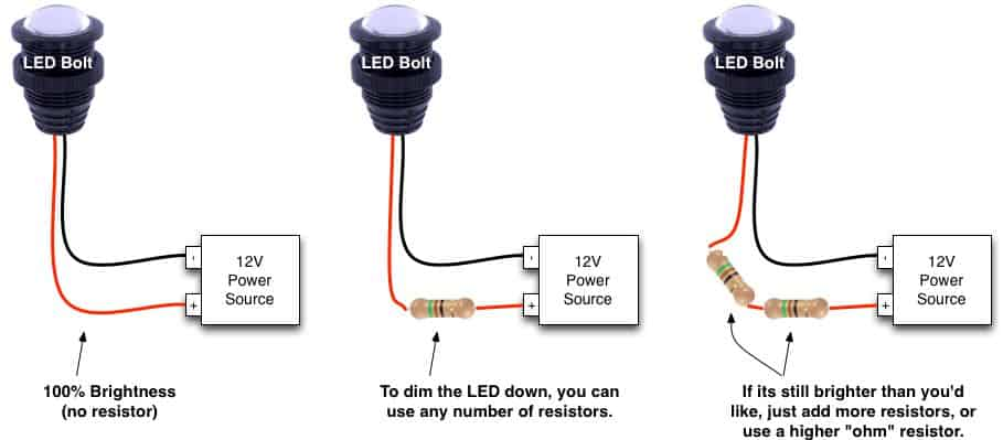 How to dim LED bolt with resistor - less bright