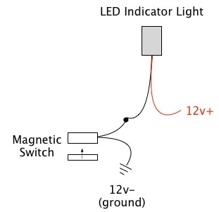 magnetic switch oznium here s an example of how you could wire the switches to an led indicator light to have it visually indicate when a door is open closed