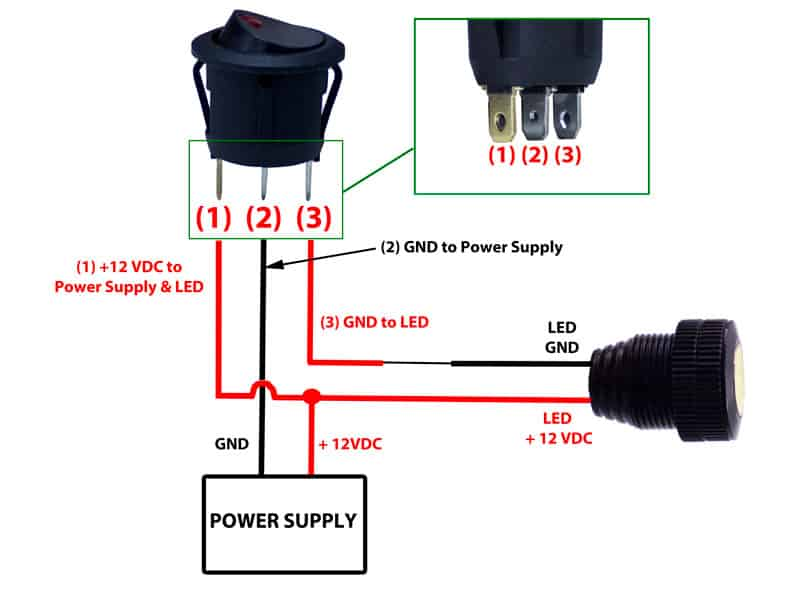 Buy 12v LED Round Rocker Switch | Remotes & Switches